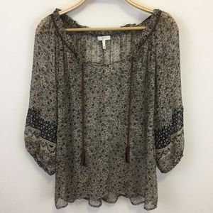 Joie Brown Sheer Boho Top with Tassels size S